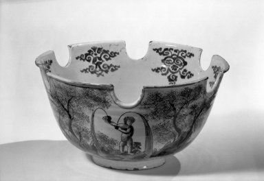 Van Eenhorn Factory. <em>Monteith Bowl</em>, ca. 1680. Glaze earthenware, 6 1/8 x 11 7/8 in. (15.6 x 30.2 cm). Brooklyn Museum, Purchased with funds given by anonymous donors, 64.3.3. Creative Commons-BY (Photo: Brooklyn Museum, 64.3.3_acetate_bw.jpg)
