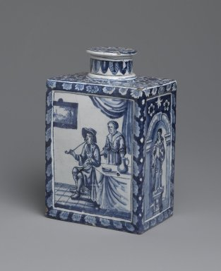 Unknown. <em>Tea Caddy</em>, ca. 1698. Glazed earthenware, 6 5/8 x 4 1/2 x 3 in. (16.8 x 11.4 x 7.6 cm). Brooklyn Museum, Purchased with funds given by anonymous donors, 64.3.4a-b. Creative Commons-BY (Photo: Brooklyn Museum, 64.3.4_side1_PS2.jpg)