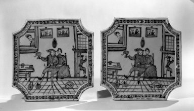 <em>Pair of Wall Plaques</em>, ca. 1700. Glazed earthenware, 9 1/2 x 9 1/2 in. (24.1 x 24.1 cm). Brooklyn Museum, Purchased with funds given by anonymous donors, 64.3.5a-b. Creative Commons-BY (Photo: Brooklyn Museum, 64.3.5a-b_acetate_bw.jpg)