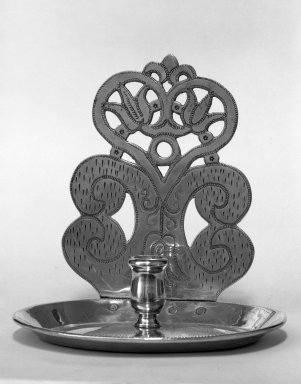 <em>Wall Sconce</em>, ca. 1680. Brass, 8 x 8 in. (20.3 x 20.3 cm). Brooklyn Museum, Purchased with funds given by anonymous donors, 64.46.6. Creative Commons-BY (Photo: Brooklyn Museum, 64.46.6_acetate_bw.jpg)
