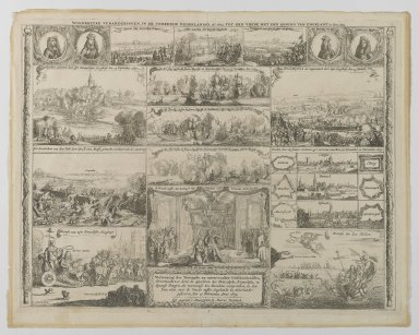 I. Sorious (Dutch, 1655-1676). <em>Events in the Netherlands from 1673 - 1674</em>, 17th century. Etching on paper, sheet: 17 3/4 x 22 1/4 in. (45.1 x 56.5 cm). Brooklyn Museum, Purchased with funds given by anonymous donors, 64.47.2 (Photo: Brooklyn Museum, 64.47.2_PS2.jpg)