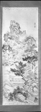 Ike-No Taiga (Japanese, 1723-1776). <em>Landscape</em>, 18th century. Ink on paper, Image: 52 1/2 x 20 3/8 in. (133.4 x 51.8 cm). Brooklyn Museum, Purchased with funds given by Carl L. Selden and A. Augustus Healy Fund, 64.6 (Photo: Brooklyn Museum, 64.6_acetate_bw.jpg)
