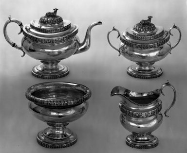 William Thomson (working 1809-1845). <em>Creamer</em>, ca. 1820. Silver, 7 1/4 x 7 in. (18.4 x 17.8 cm). Brooklyn Museum, Gift of Mrs. Chester Dale, 64.76.4. Creative Commons-BY (Photo: , 64.76.1-.4_bw.jpg)