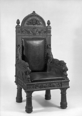 John Quincy Adams Ward. <em>Armchair (relic) (Renaissance Revival style)</em>, ca. 1880. Oak, alligator-finish cowhide upholstery, 59 1/2 x 27 3/4 x 25 1/2 in. (151.1 x 70.5 x 64.8 cm). Brooklyn Museum, Gift of The Honorable E. J. Dimock, 64.77. Creative Commons-BY (Photo: Brooklyn Museum, 64.77_acetate_bw.jpg)