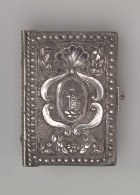 <em>Hebrew Prayer Book with Silver Cover</em>, 18th century. Silver, 6 3/4 x 4 3/4 x 1 3/8 in. (17.1 x 12.1 x 3.5 cm). Brooklyn Museum, Gift of Mrs. Morris Friedsam, 64.78.1. Creative Commons-BY (Photo: Brooklyn Museum, 64.78.1_side1.jpg)
