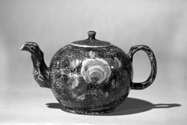 <em>Tea Pot</em>, ca.1750., H. including finial: 3 3/4 in. (9.5 cm). Brooklyn Museum, Bequest of H. Randolph Lever, 64.80.15. Creative Commons-BY (Photo: Brooklyn Museum, 64.80.15_acetate_bw.jpg)