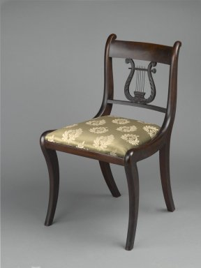 Ernest F. Hagen Furniture and Antiques. <em>Side Chair</em>, ca. 1926. Mahogany, metal, modern damask upholstery, 31 1/4 x 18 x 19 1/2 in. (79.4 x 45.7 x 49.5 cm). Brooklyn Museum, Bequest of H. Randolph Lever, 64.80.22. Creative Commons-BY (Photo: Brooklyn Museum, 64.80.22_PS2.jpg)