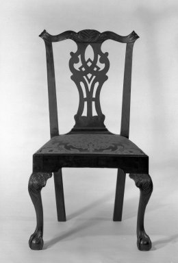 Gilbert Ash. <em>Side Chair</em>, ca.1765. Mahogany, 39 1/2 x 23 x 21 in. (100.3 x 58.4 x 53.3 cm). Brooklyn Museum, Bequest of H. Randolph Lever, 64.80.3a. Creative Commons-BY (Photo: Brooklyn Museum, 64.80.3a_front_acetate_bw.jpg)