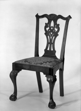 Gilbert Ash. <em>Side Chair</em>, ca.1765. Mahogany, 39 1/2 x 23 x 21 in. (100.3 x 58.4 x 53.3 cm). Brooklyn Museum, Bequest of H. Randolph Lever, 64.80.3b. Creative Commons-BY (Photo: Brooklyn Museum, 64.80.3b_threequarter_acetate_bw.jpg)