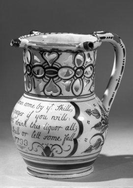 <em>Puzzle Jug</em>, 1733. Earthenware or Delft ware, 7 x 4 1/2 in. (17.8 x 11.4 cm). Brooklyn Museum, Bequest of H. Randolph Lever, 64.80.40. Creative Commons-BY (Photo: Brooklyn Museum, 64.80.40_acetate_bw.jpg)