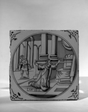 <em>Delft Tile of Religious Scene</em>, ca. 17th-18th century., 5 1/8 x 5 1/8 x 5 1/8 in. (13 x 13 x 13 cm). Brooklyn Museum, Bequest of H. Randolph Lever, 64.80.56a. Creative Commons-BY (Photo: Brooklyn Museum, 64.80.56a_acetate_bw.jpg)