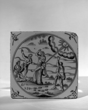 <em>Delft Tile of Religious Scene</em>, ca. 17th-18th century., 5 1/8 x 5 1/8 x 5 1/8 in. (13 x 13 x 13 cm). Brooklyn Museum, Bequest of H. Randolph Lever, 64.80.56b. Creative Commons-BY (Photo: Brooklyn Museum, 64.80.56b_acetate_bw.jpg)