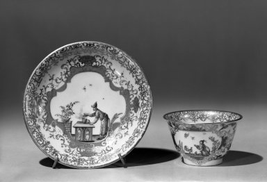 <em>Meissen Cup and Saucer</em>, ca. 1750. Porcelain, cup: 1 7/8 x 3 in. (4.8 x 7.6 cm). Brooklyn Museum, Gift of the Estate of Emily Winthrop Miles, 64.82.134a-b. Creative Commons-BY (Photo: Brooklyn Museum, 64.82.134a-b_acetate_bw.jpg)