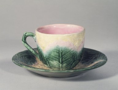 American. <em>Cup and Saucer</em>, ca. 1880-1890. Earthenware, cup: 2 1/2 x 3 in. (6.4 x 7.6 cm). Brooklyn Museum, Gift of the Estate of Emily Winthrop Miles, 64.82.155a-b. Creative Commons-BY (Photo: Brooklyn Museum, 64.82.155a-b.jpg)