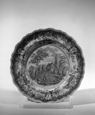 <em>Plate</em>, ca. 1840. Earthenware, 9 in. (22.9 cm). Brooklyn Museum, Gift of the Estate of Emily Winthrop Miles, 64.82.217. Creative Commons-BY (Photo: Brooklyn Museum, 64.82.217_acetate_bw.jpg)