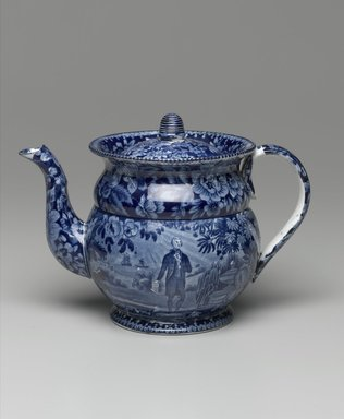 Enoch Wood & Sons (active 1818-1846). <em>Coffee Pot and Lid</em>, ca. 1825-1835. Earthenware, 6 x 5 1/2 x 5 1/2 in. (15.2 x 14 x 14 cm). Brooklyn Museum, Gift of the Estate of Emily Winthrop Miles, 64.82.240a-b. Creative Commons-BY (Photo: Brooklyn Museum, 64.82.240a-b_PS1.jpg)