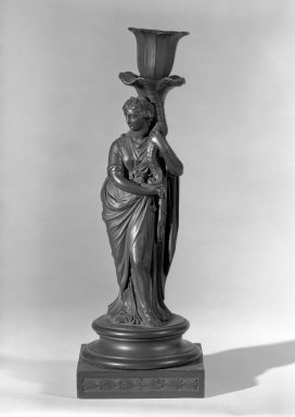 Josiah Wedgwood & Sons Ltd. (founded 1759). <em>Candlestick</em>, ca. 1785. Stoneware, 10 1/2 in. (26.7 cm). Brooklyn Museum, Gift of the Estate of Emily Winthrop Miles, 64.82.30. Creative Commons-BY (Photo: Brooklyn Museum, 64.82.30_acetate_bw.jpg)