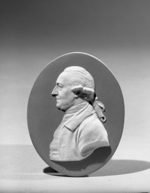 Josiah Wedgwood & Sons Ltd. (founded 1759). <em>Portrait Medallion</em>, ca.1785. Jasperware, 4 1/8 x 3 3/16 in. (10.5 x 8.1 cm). Brooklyn Museum, Gift of the Estate of Emily Winthrop Miles, 64.82.77. Creative Commons-BY (Photo: Brooklyn Museum, 64.82.77_acetate_bw.jpg)