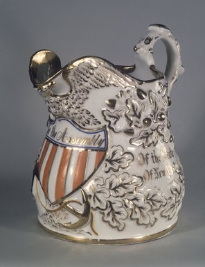 Attributed to Charles Cartlidge & Co. (1848-1856). <em>Pitcher</em>, ca. 1850. Porcelain, 13 x 14 x 10 3/8 in. (33 x 35.6 x 26.4 cm). Brooklyn Museum, Gift of Alice Corey Robertson, 64.83.3. Creative Commons-BY (Photo: Brooklyn Museum, 64.83.3.jpg)