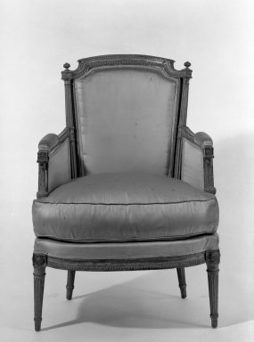 <em>Armchair</em>, ca. 1780. Carved and painted beechwood, 36 x 26 x 22 in. (91.4 x 66 x 55.9 cm). Brooklyn Museum, Gift of Paul Stegnitz, 64.84. Creative Commons-BY (Photo: Brooklyn Museum, 64.84_acetate_bw.jpg)