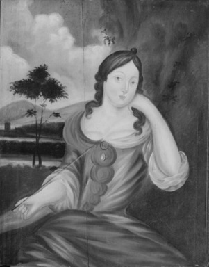 American. <em>Lady with an Arrow</em>, ca. 1715. Oil on wood panel, 26 3/8 x 21 1/16 in. (67 x 53.5 cm). Brooklyn Museum, Purchased with funds given by anonymous donors and the Dick S. Ramsay Fund, 64.89.1 (Photo: Brooklyn Museum, 64.89.1_bw.jpg)