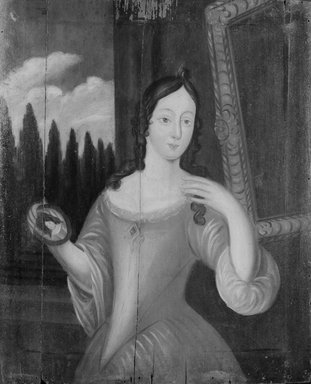 American. <em>Lady with a Mirror</em>, ca. 1715. Oil on wood panel, 37 1/16 x 23 11/16 in. (94.1 x 60.2 cm). Brooklyn Museum, Purchased with funds given by anonymous donors and the Dick S. Ramsay Fund, 64.89.2 (Photo: Brooklyn Museum, 64.89.2_bw.jpg)