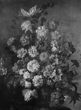 Antoine Monnoyer (French, 1670-1747). <em>Vase of Flowers</em>, ca. 1715. Oil on canvas, 36 x 27 1/8 in.  (91.4 x 68.9 cm). Brooklyn Museum, Gift of Mr. and Mrs. Daniel L. Silberberg, 64.92.3 (Photo: Brooklyn Museum, 64.92.3_bw.jpg)