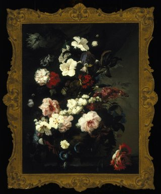 Mary Moser (English, 1744-1819). <em>Flowers, Still Life (Jardiniere of Flowers)</em>, ca. 1780. Oil on canvas, 34 x 26 1/4 in.  (86.4 x 66.7 cm). Brooklyn Museum, Gift of Mr. and Mrs. Daniel L. Silberberg, 64.92.5 (Photo: Brooklyn Museum, 64.92.5_SL1.jpg)