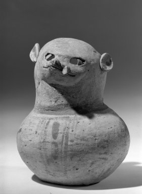 Huastec. <em>Animal Effigy Spouted Jar</em>. Clay Brooklyn Museum, Charles Stewart Smith Memorial Fund, 64.95.1. Creative Commons-BY (Photo: Brooklyn Museum, 64.95.1_front_acetate_bw.jpg)