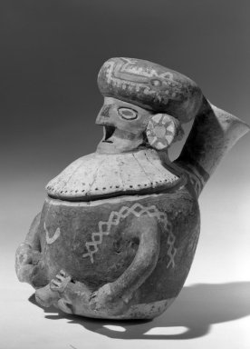 Recuay. <em>Human Effigy Vessel</em>, 0-650 C.E. Clay, resist decoration, slips, 6 1/2 x 6 5/16 in.  (16.5 x 16.0 cm). Brooklyn Museum, Charles Stewart Smith Memorial Fund, 64.95.2. Creative Commons-BY (Photo: Brooklyn Museum, 64.95.2_acetate_bw.jpg)