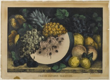 Currier & Ives (American). <em>Fruits Autumn Varieties</em>, 1871. Lithograph colored by hand on wove paper, 8 1/2 x 12 1/4 in. (21.6 x 31.1 cm). Brooklyn Museum, Gift of the Estate of H. Randolph Lever, 64.97.3 (Photo: Brooklyn Museum, 64.97.3_PS1.jpg)