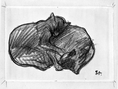 Théophile Alexandre Steinlen (French, 1859-1923). <em>Two Sleeping Cats</em>. Drawing, conte crayon on wove paper, Sheet: 5 1/2 x 7 7/8 in. (14 x 20 cm). Brooklyn Museum, Gift of the Estate of Emily Winthrop Miles, 64.98.281 (Photo: Brooklyn Museum, 64.98.281_bw.jpg)