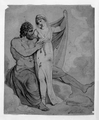 Thomas Rowlandson (British, 1756-1827). <em>Hercules and Omphale</em>, after 1821. Ink drawing with watercolor wash, 8 1/2 x 7 in. (21.6 x 17.8 cm). Brooklyn Museum, Gift of the Estate of Emily Winthrop Miles, 64.98.287 (Photo: Brooklyn Museum, 64.98.287_bw.jpg)