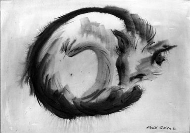 Kenneth L. Callahan (American, 1905-1986). <em>Sleeping Fox</em>, 1960. Ink, brush and wash on paper, sheet: 13 1/4 x 18 3/8 in. (33.7 x 46.7 cm). Brooklyn Museum, Gift of the Estate of Emily Winthrop Miles, 64.98.288. © artist or artist's estate (Photo: Brooklyn Museum, 64.98.288_acetate_bw.jpg)