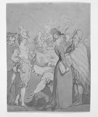 Thomas Rowlandson (British, 1756-1827). <em>Masquerade</em>, 1807. Brush drawing and watercolor on wove paper, 10 3/4 x 8 3/4 in. (27.3 x 22.2 cm). Brooklyn Museum, Gift of the Estate of Emily Winthrop Miles, 64.98.291 (Photo: Brooklyn Museum, 64.98.291_bw.jpg)