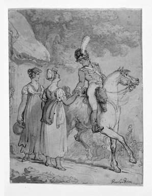 Thomas Rowlandson (British, 1756-1827). <em>Two Women Saying Goodbye to Mounted Soldier</em>, 1810-1815. Drawing with watercolor on wove paper, 7 1/4 x 5 3/4 in. (18.4 x 14.6 cm). Brooklyn Museum, Gift of the Estate of Emily Winthrop Miles, 64.98.293 (Photo: Brooklyn Museum, 64.98.293_bw.jpg)