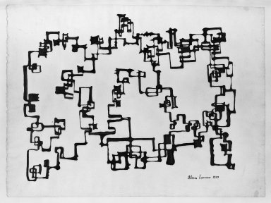 Ibram Lassaw (American, born Egypt, 1913-2003). <em>Drawing</em>, 1958. Ink on paper, 19 x 25 in. (48.3 x 63.5 cm). Brooklyn Museum, Gift of the Aaron E. Norman Fund, Inc., 64.99.1. © artist or artist's estate (Photo: Brooklyn Museum, 64.99.1_acetate_bw.jpg)