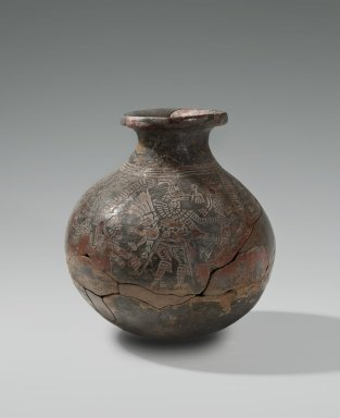 Jalisco. <em>Vessel</em>, 1300. Ceramic, pigment, 9 1/2 x 9 1/16 in.  (24.1 x 23.0 cm). Brooklyn Museum, Ella C. Woodward Memorial Fund, 64.9. Creative Commons-BY (Photo: Brooklyn Museum, 64.9_view1_PS2.jpg)