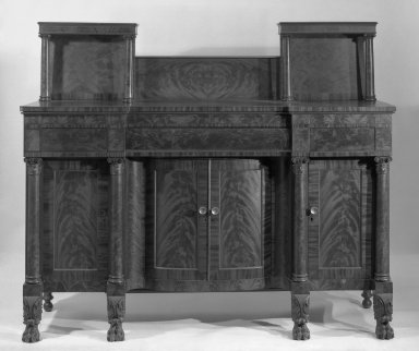 <em>Sideboard</em>, ca. 1820. Mahogany, 61 3/4 x 73 1/4 in. (156.8 x 186.1 cm). Brooklyn Museum, Gift of Mr. and Mrs. H. Stewart Peyton, 65.140. Creative Commons-BY (Photo: Brooklyn Museum, 65.140_bw_IMLS.jpg)