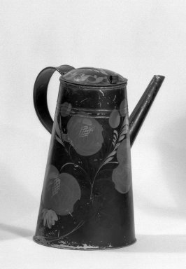American. <em>Coffee Pot</em>, ca. 1840. Painted tin, toleware, Height: 10 in. (25.4 cm). Brooklyn Museum, H. Randolph Lever Fund, 65.144.2. Creative Commons-BY (Photo: Brooklyn Museum, 65.144.2_acetate_bw.jpg)