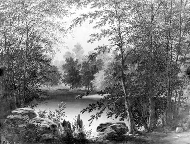 Thomas Addison Richards (American, 1820-1900). <em>On Claverack Creek near Hudson, New York</em>, 1846. Oil on canvas, 18 1/16 x 24 1/8 in. (45.9 x 61.3 cm). Brooklyn Museum, Gift of Dr. Katherine K. Merritt, 65.148 (Photo: Brooklyn Museum, 65.148_acetate_bw.jpg)