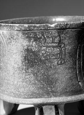 Maya. <em>Tripod Bowl</em>, 400-500. Ceramic, 8 × 8 9/16 × 8 1/2 in. (20.3 × 21.7 × 21.6 cm). Brooklyn Museum, Dick S. Ramsay Fund, 65.155. Creative Commons-BY (Photo: Brooklyn Museum, 65.155_acetate_bw.jpg)