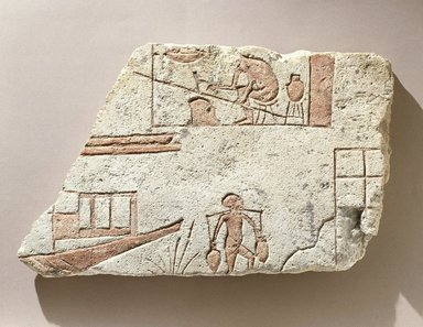 <em>Riverside Scene</em>, ca. 1352-1336 B.C.E. Limestone, pigment, 9 1/4 x 15 x 1 11/16 in. (23.5 x 38.1 x 4.3 cm). Brooklyn Museum, Charles Edwin Wilbour Fund, 65.16. Creative Commons-BY (Photo: Brooklyn Museum, 65.16_SL1.jpg)
