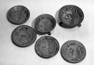 Mixteca-Puebla. <em>Plate</em>, 1150-1350 C.E. Ceramic; pigment Brooklyn Museum, Gift of Frances Pratt, 65.17.5. Creative Commons-BY (Photo: , 65.17.1-.6_acetate_bw.jpg)