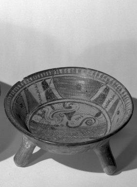 Mixteca-Puebla. <em>Tripod Bowl</em>, 1150-1350 C.E. Ceramic, pigments, 4 x 9 1/2 x 9 1/2 in. (10.2 x 24.1 x 24.1 cm). Brooklyn Museum, Gift of Frances Pratt, 65.17.2. Creative Commons-BY (Photo: Brooklyn Museum, 65.17.2_acetate_bw.jpg)
