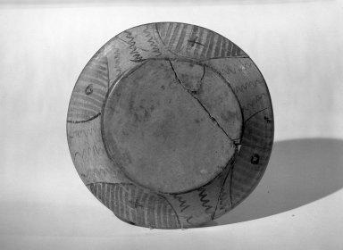 Mixteca-Puebla. <em>Plate</em>, 1150-1350 C.E. Ceramic, 1 1/2 x 8 3/4in. (3.8 x 22.2cm). Brooklyn Museum, Gift of Frances Pratt, 65.17.3. Creative Commons-BY (Photo: Brooklyn Museum, 65.17.3_bottom_acetate_bw.jpg)