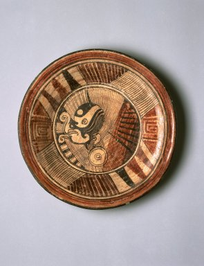 Mixteca-Puebla. <em>Plate</em>, 1150-1350 C.E. Ceramic, pigment, 1 5/8 x 8 15/16 x 8 15/16 in. (4.1 x 22.7 x 22.7 cm). Brooklyn Museum, Gift of Frances Pratt, 65.17.6. Creative Commons-BY (Photo: Brooklyn Museum, 65.17.6_SL1.jpg)
