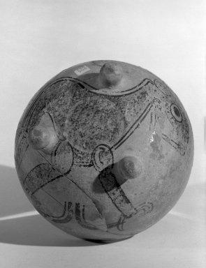 Maya. <em>Tripod Bowl</em>, 600-900 C.E. Clay, pigment, 3 15/16 x 5 1/2 in.  (10 x 14 cm). Brooklyn Museum, Gift of Teochita, Inc., 65.18. Creative Commons-BY (Photo: Brooklyn Museum, 65.18_bottom_acetate_bw.jpg)
