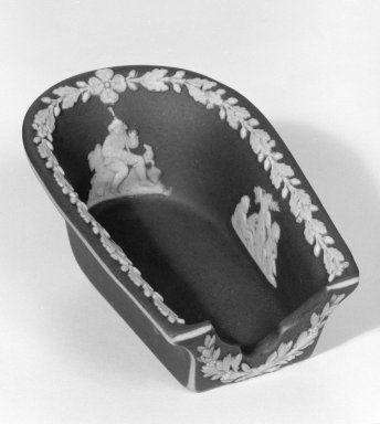 Josiah Wedgwood & Sons Ltd. (founded 1759). <em>Ashtray or Pipe Holder</em>, ca.1894. Jasperware, Other: 3 1/2 x 2 1/8 in. (8.9 x 5.4 cm). Brooklyn Museum, Gift of Dr. and Mrs. William R. Liberman in honor of Mrs. George Liberman, 65.200.1. Creative Commons-BY (Photo: Brooklyn Museum, 65.200.1_bw.jpg)