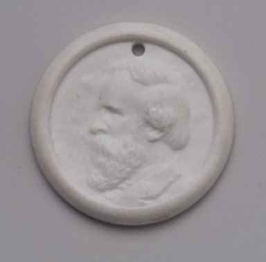 Charles Cartlidge & Co. (1848-1856). <em>Medallion</em>, ca. 1865. Porcelain, 1 7/8 x 1 7/8 x 3/16 in. (4.8 x 4.8 x 0.5 cm). Brooklyn Museum, Gift of Mrs. Henry W. Patten, 65.201.2. Creative Commons-BY (Photo: Brooklyn Museum, 65.201.2.jpg)